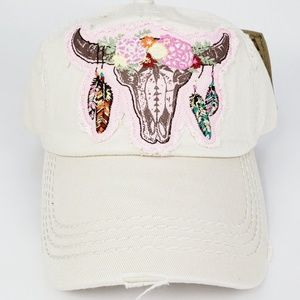 Steer Floral Tan Embroidered Distressed Hat